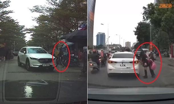 Tài xế tùy hứng đỗ xe giữa đường