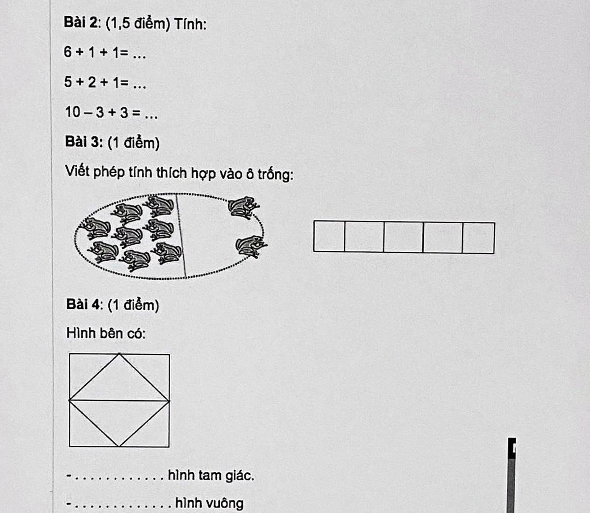 Bài tập Toán lớp 1 được phụ huynh tìm trên mạng, cho con học bổ sung. Ảnh: Phụ huynh cung cấp.