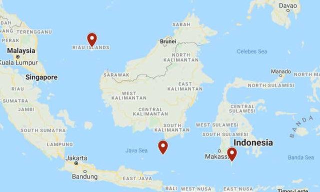 Vị trí ba tàu lặn được tìm thấy gần Indonesia trong hai năm qua. Đồ họa: Google Maps.