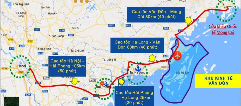 Chuỗi cao tốc Hà Nội - Móng Cái. Đồ họa: Báo Quảng Ninh
