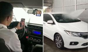 Chồng ngồi trong ôtô dàn cảnh trời mưa qua mặt vợ