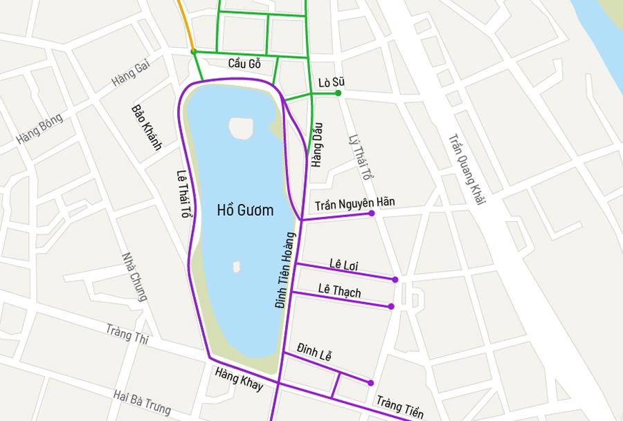 Không gian đi bộ qua ba lần mở rộng tại quận Hoàn Kiếm. Đồ hoạ: Việt Chung.