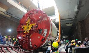 Lắp xong robot đầu tiên khoan hầm Nhổn - ga Hà Nội