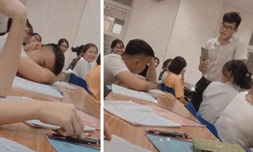 Bé trai ngủ gật khi học bài - 3