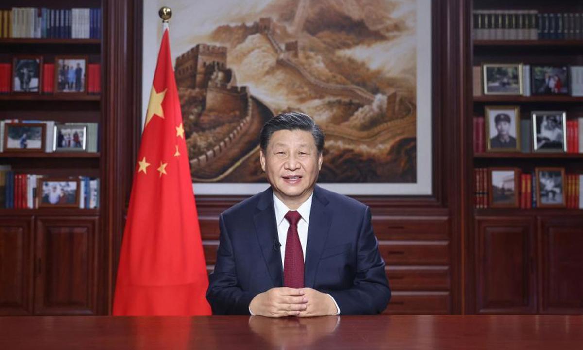 Chủ tịch Trung Quốc Tập Cận Bình phát biểu mừng năm mới tại Bắc Kinh hôm 31/12/2020. Ảnh: Xinhua.