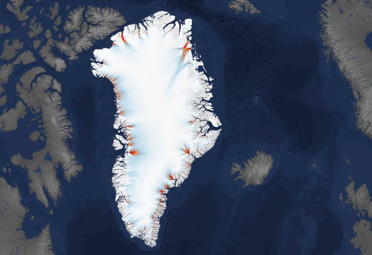 Bản đồ sông băng ở Greenland do các vệ tinh đo đạc. Ảnh: Earth Observatory.
