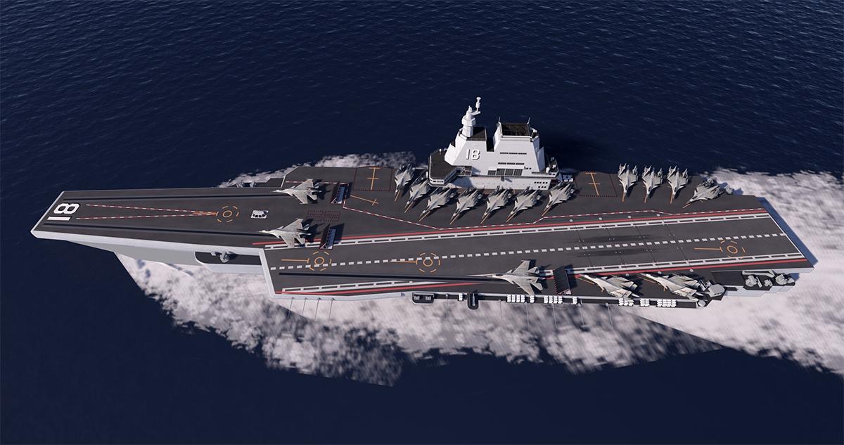 Mô phỏng tàu sân bay Type 002. Đồ họa: SCMP.