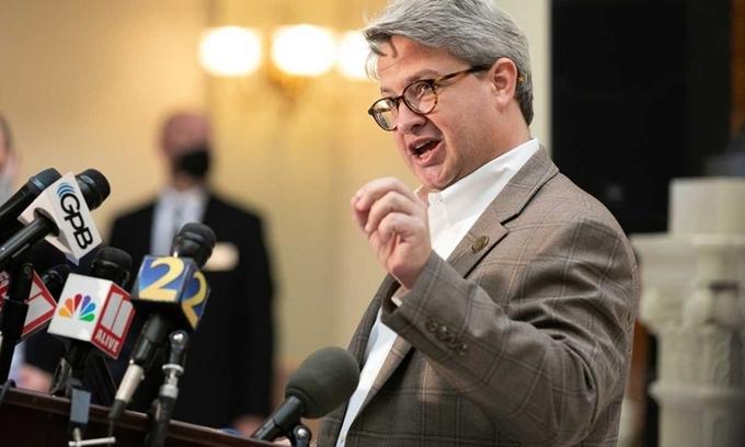 Lãnh đạo hệ thống bỏ phiếu bang Georgia Gabriel Sterling trong cuộc họp báo tại Atlanta hôm 1/12. Ảnh: Washingtonpost.