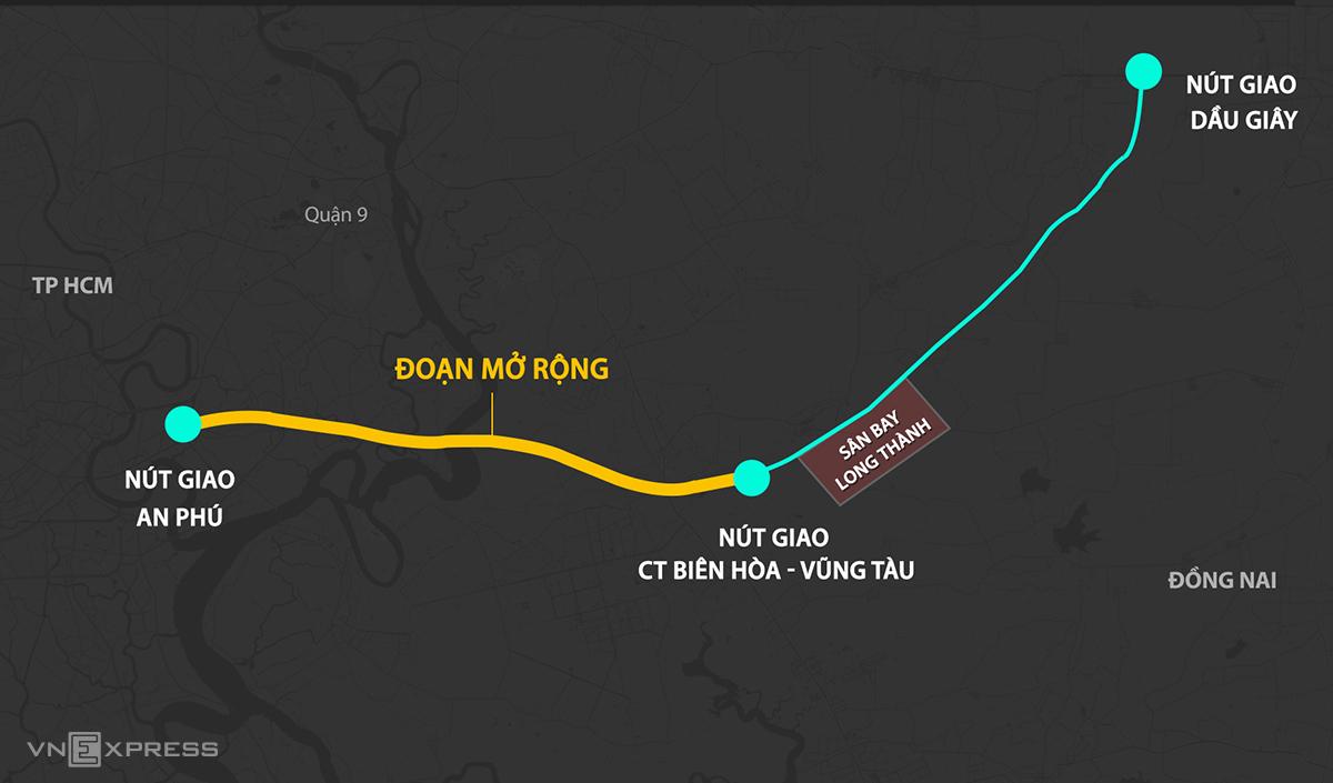 Phương án mở rộng cao tốc TP HCM - Long Thành - Dầu Giây. Đồ họa: Thanh Huyền.