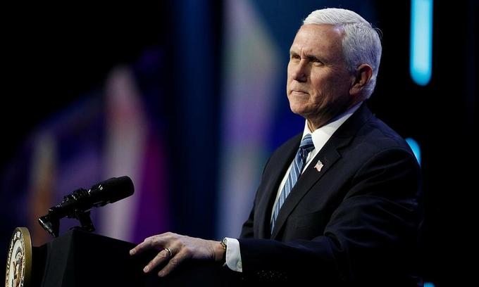 Phó tổng thống Mỹ Mike Pence phát biểu tại một sự kiện ở thủ đô Washington hồi tháng 3 năm ngoái. Ảnh: Reuters.