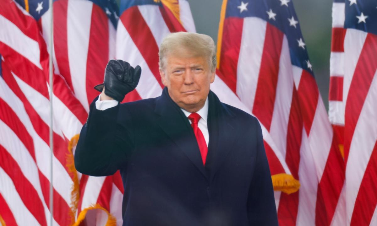 Tổng thống Mỹ Trump trong cuộc mít tinh ở Washington ngày 6/1. Ảnh: Reuters.