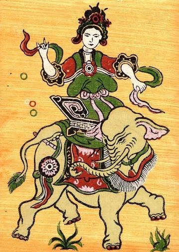 Nữ tướng muốn cưỡi gió, đạp sóng, chém cá kình biển khơi qua tranh dân gian Đông Hồ. Ảnh: Bảo tàng Thanh Hóa