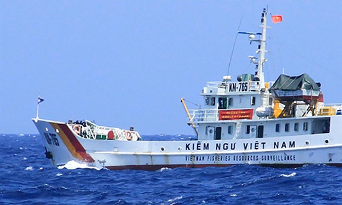 Tàu Kiểm ngư Việt Nam làm nhiệm vụ trên biển. Ảnh: Nguyễn Đông.
