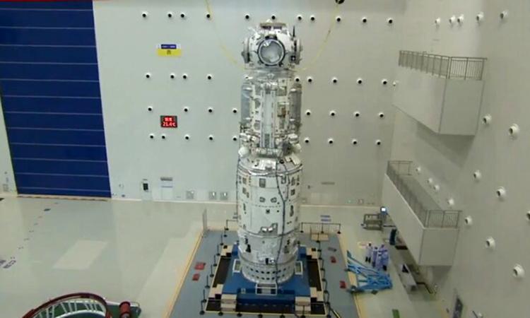 Module lõi Thiên Hà và bộ phận ghép nối của trạm vũ trụ Trung Quốc. Ảnh: CMSA.