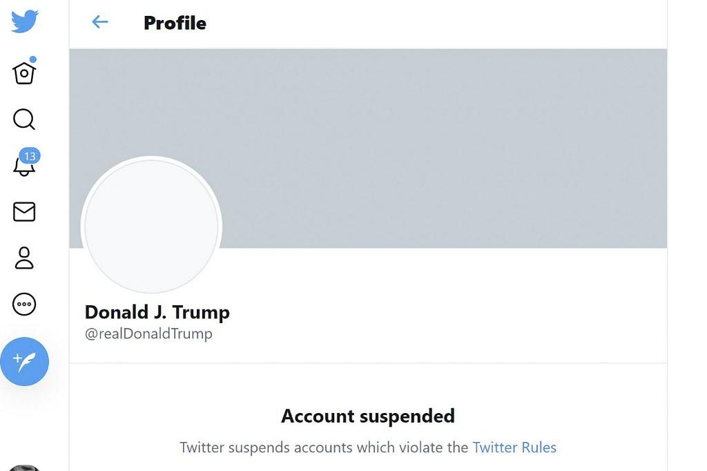Tài khoản Twitter của Trump bị đình chỉ. Ảnh chụp màn hình.