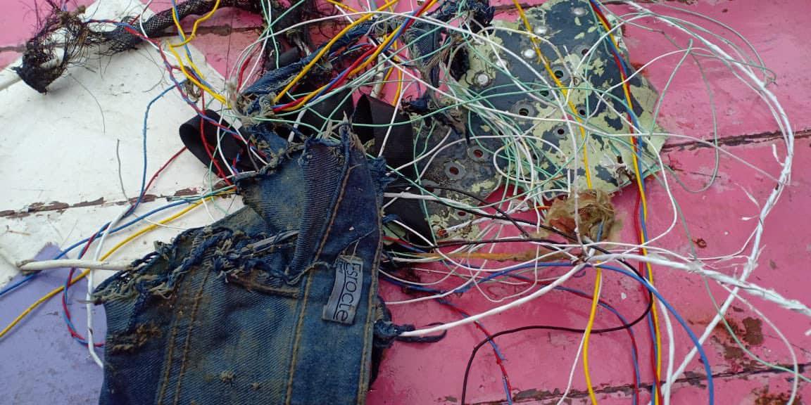 Vật thể bị nghi là từ máy bay SJ 182 được tìm thấy ở vùng biển phía bắc Jakarta. Ảnh: Aeronews.