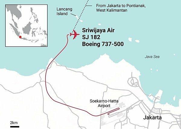 Đường bay của SJ 182 trước khi mất tích. Đồ họa: SCMP.