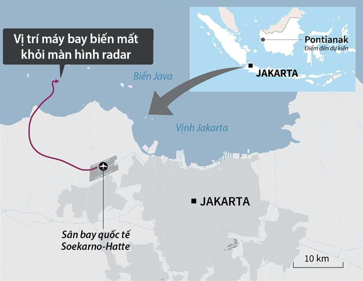 Đường bay và vị trí chiếc Boeing 737-500 của hãng Sriwijaya Air biến mất khỏi radar hôm 9/1. Đồ họa:AFP.