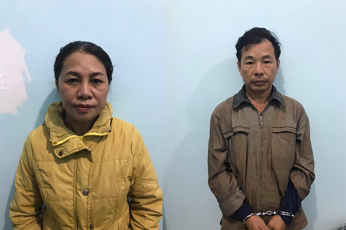 Lương Văn Vỵ và vợ Nguyễn Thị Yên lúc bị bắt. Ảnh: Công an cung cấp.