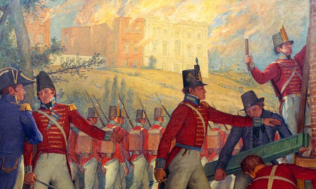 Tranh vẽ cảnh quân Anh đốt cháy các công trình tại thành phố Washington năm 1814. Ảnh: Wikipedia.