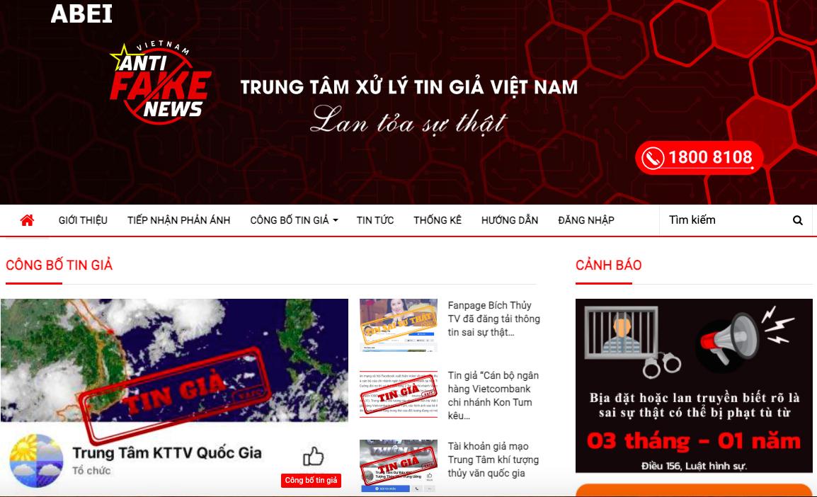 Trang điện tử của Trung tâm xử lý tin giả Việt Nam.