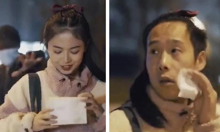 Hình ảnh cô gái trước và sau khi tẩy trang trong video quảng cáo của Purcotton. Ảnh: SCMP.