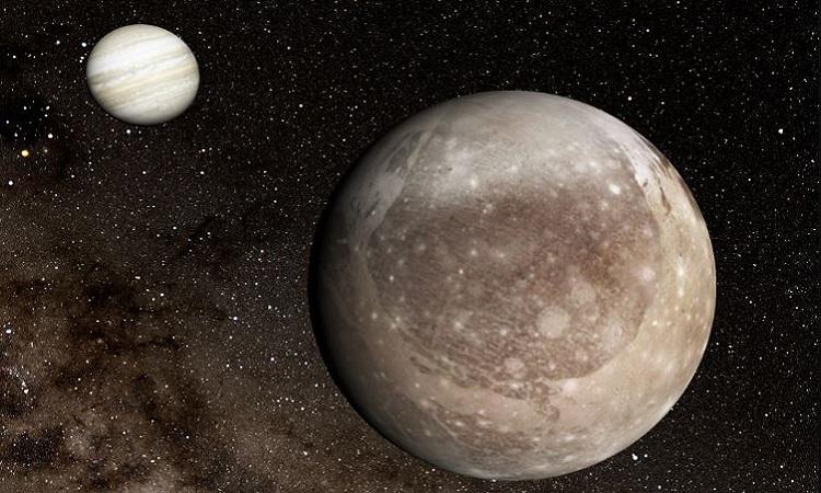 Sao Mộc (góc trái) và mặt trăng Ganymede. Ảnh: Space.