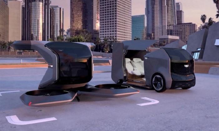 Mẫu xe bay và xe điện tự lái mới của GM. Ảnh: GM.