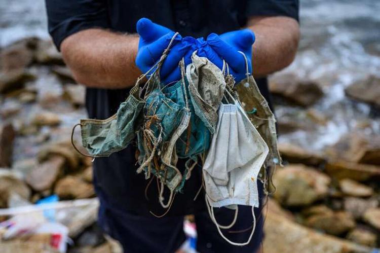 Hàng nghìn tấn khẩu trang bị rửa trôi xuống biển vào năm ngoái. Ảnh: Florida News Times.