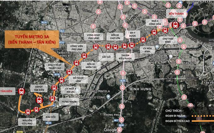 Lộ trình tuyến Metro Số 3A - dự án được TP HCM đề xuất kêu gọi đầu tư trong 5 năm tới. Ảnh: MAUR.