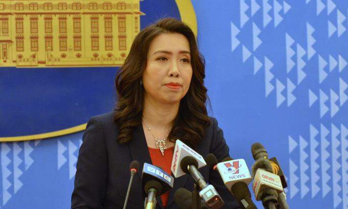 Người phát ngôn Lê Thị Thu Hằng trong cuộc họp báo chiều 19/11/2020. Ảnh: Vũ Anh.