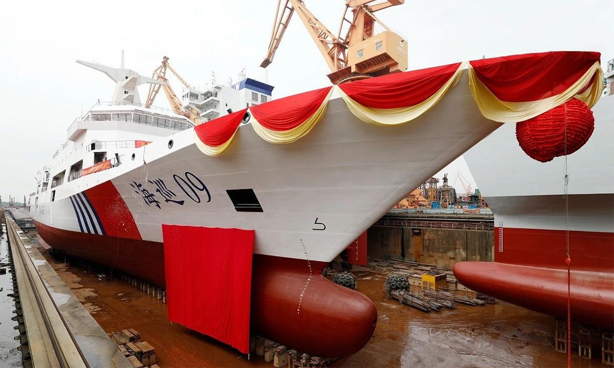 Tàu Hải tuần 09 trong lễ hạ thủy tại xưởng của Nhà máy Đóng tàu Hoàng Bộ Văn Xung ở thành phố Quảng Châu, tỉnh Quảng Đông, Trung Quốc, tháng 9/2020. Ảnh: Paper.