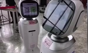 Hai robot cãi nhau trong thư viện