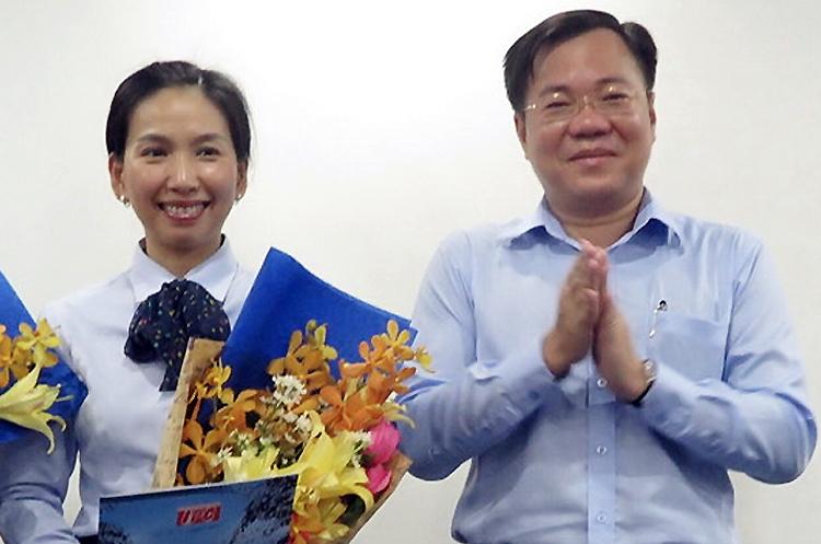 Bà Hồ Thị Thanh Phúc (trái) và Tề Trí Dũng hồi năm 2017. Ảnh:Sadeco.
