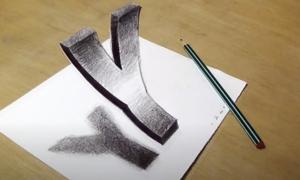 Vẽ chữ Y 3D lơ lửng trên giấy