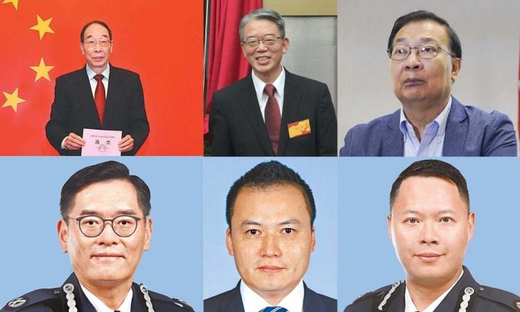 Từ trái qua phải hàng trên: quan chức You Quan, Sun Qingye và Tam Yiu-chung. Hàng dưới gồm ba sĩ quan cảnh sát Hong Kong cũng bị Mỹ áp trừng phạt. Ảnh: SCMP/ AP.