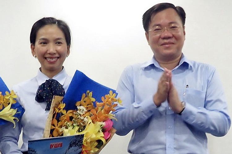 Bà Hồ Thị Thanh Phúc (trái) và Tề Trí Dũng hồi năm 2017. Ảnh: Sadeco.