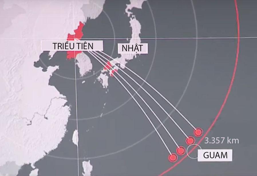 Vị trí giữa Triều Tiên và đảo Guam của Mỹ. Đồ họa: Sky News.