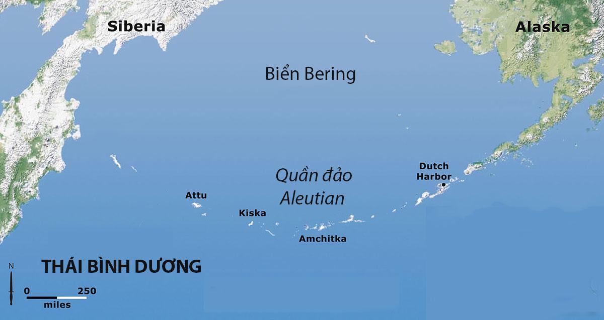 Vị trí quần đảo Aleutian trên Biển Bering. Đồ họa: Arsof.