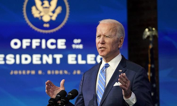 Tổng thống đắc cử Mỹ Joe Biden phát biểu tại nhà hát Queen, bang Delaware tuần trước. Ảnh: AP.