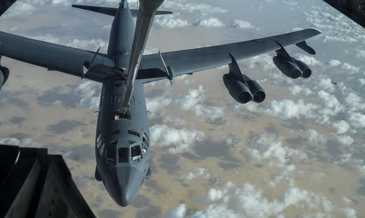 Oanh tạc cơ B-52 bay qua Trung Đông ngày 17/1. Ảnh: USAF.
