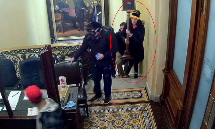 Gracyn Dawn Courtright (khoanh đỏ) ăn trộm tấm biển chỉ dành cho nhân viên trong tòa nhà quốc hội Mỹ hôm 6/1. Ảnh: FBI.