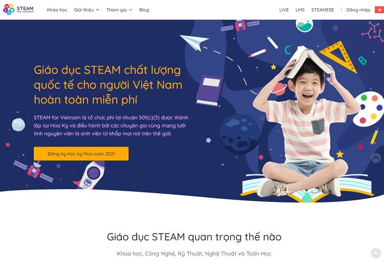 Giao diện website STEAM for Vietnam