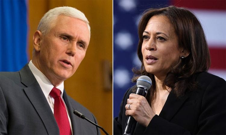 Phó tổng thống Mỹ Mike Pence (trái) và Phó tổng thống đắc cử Kamala Harris (phải). Ảnh: AFP.