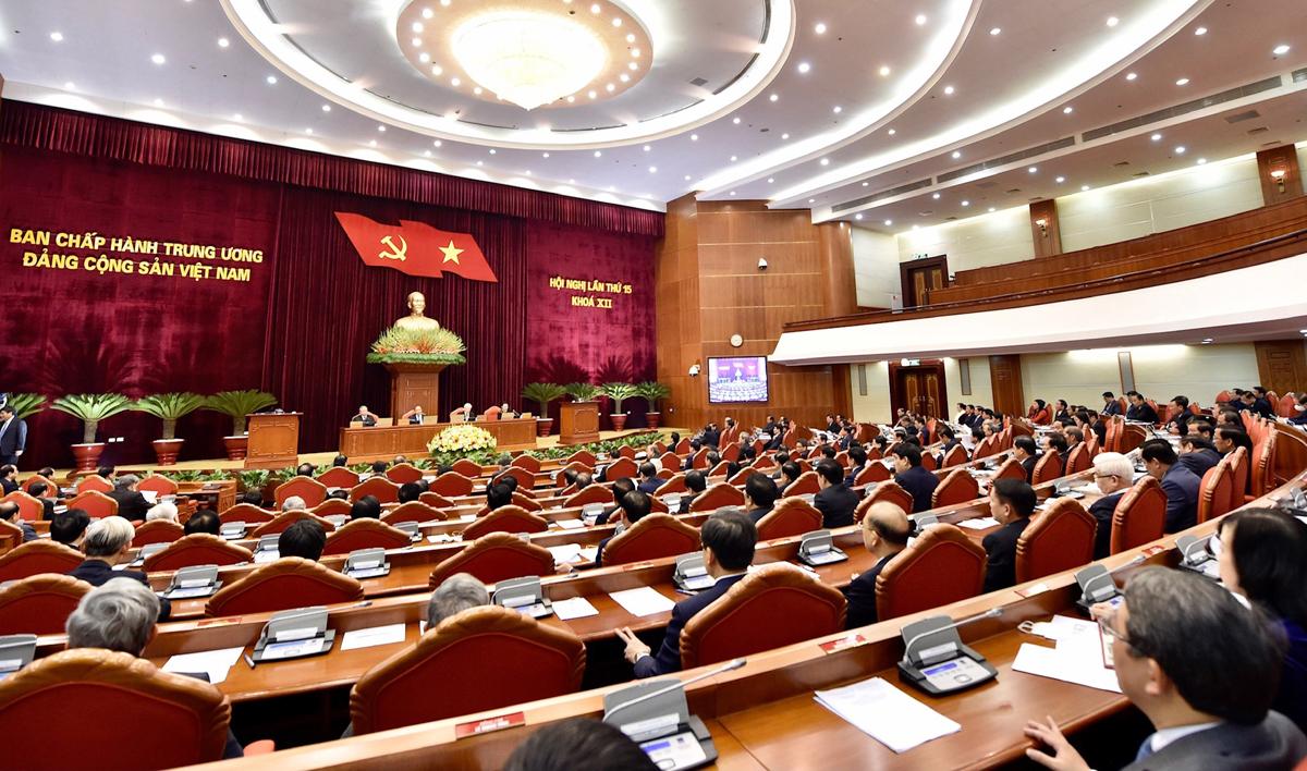Đại biểu dự Hội nghị Trung ương 15 (khóa XII). Các ủy viên Trung ương đương nhiệm là đại biểu đương nhiên tại Đại hội XIII. Ảnh: Nhật Bắc