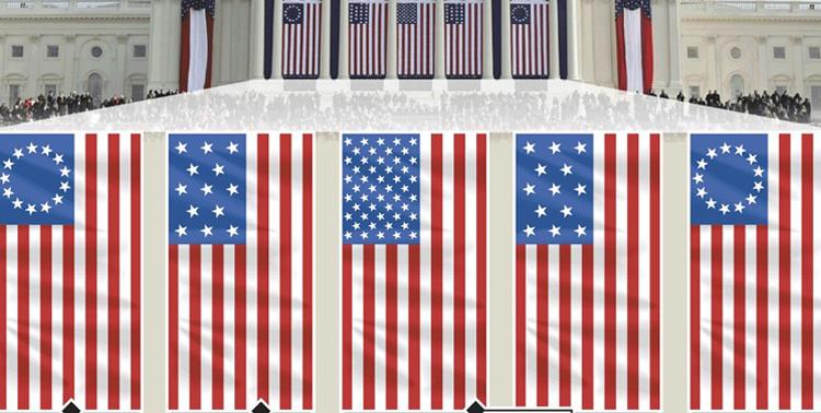 Những lá cờ xuất hiện trong lễ nhậm chức của Biden, từ trái qua phải gồm: cờ Betsy Ross, cờ 13 sao, quốc kỳ Mỹ, cờ 13 sao và cờ Betsy Ross. Ảnh: Graphic News.