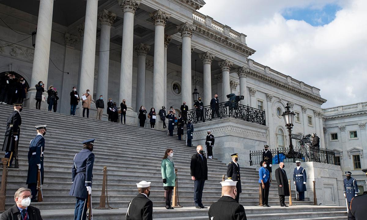Buổi tổng duyệt cho lễ nhậm chức của Biden ở thủ đô Washington hôm 18/1. Ảnh: AP.