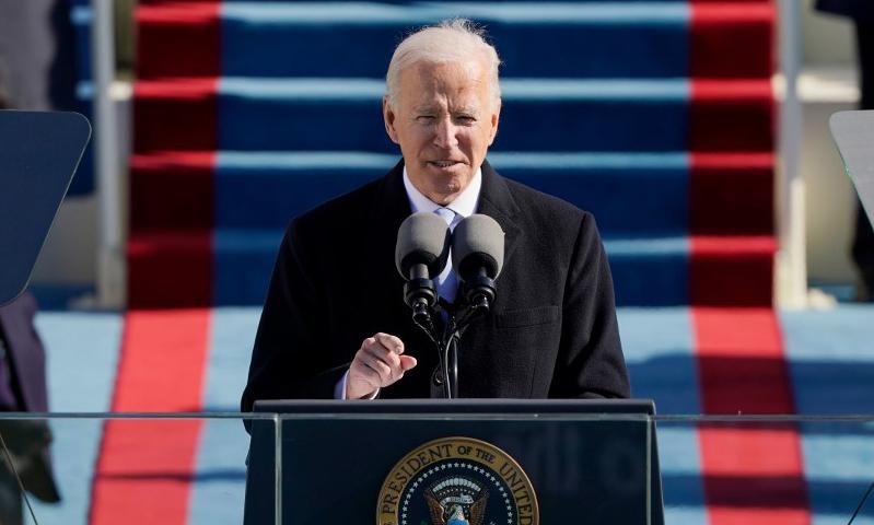 Tân Tổng thống Mỹ Joe Biden phát biểu sau khi tuyên thệ nhậm chức tại Đồi Capitol, Washington, hôm 20/1. Ảnh: AFP.
