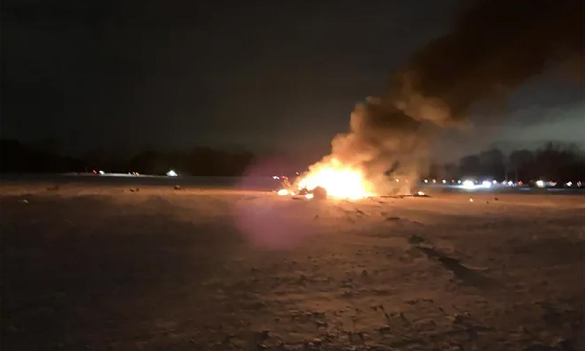 Hiện trường vụ rơi trực thăng quân sự của Vệ binh Quốc gia Mỹ, ngày 20/1. Ảnh: Twitter/emfaze.
