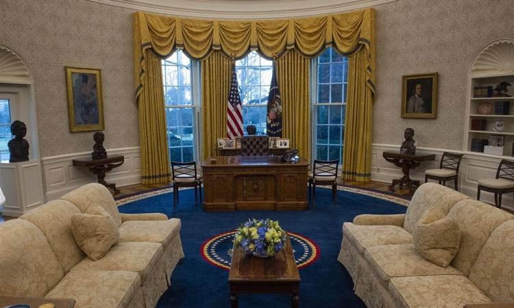 Phòng Bầu dục đã được bài trí lại cho tân Tổng thống Mỹ Joe Biden. Ảnh: Washington Post.